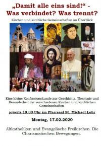 """Konfessionskunde IV """"Altkatholiken, christliche Beweungen des 17-20. Jahrhunderts, Freikirchen und charismatische Gruppen"""