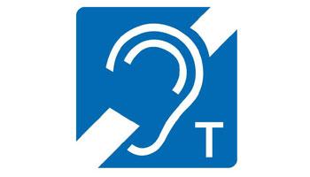 International einheitliches Logo für die Ausrüstung eines Raumes mit Indutkionsschleife für Hörgeschädigte.
